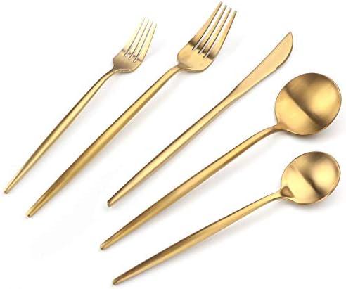 Gold Silverware Set Titanium Gold Plated HOFTEN 20 Piece Stainless Steel Golden Titanium Flatware product image