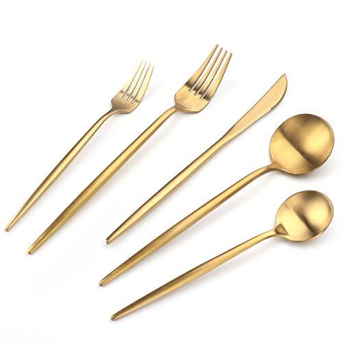 HF HOFTEN Luxury Gold Silverware Set, 20-Piece Golden Stainless Steel Flatware Sets for 4, Tableware Eating Utensils Titanium Gold Plated, Dishwasher...
