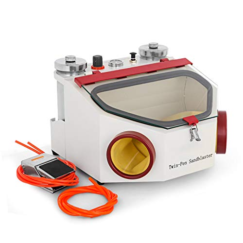 BananaB Sandstrahlkabine 2 Stift 2 Tanks Sandstrahlgerät 4kg/cm Dental Lab Sandblaster LED-Licht Sand Blasting Machine Sandblaster mit Fußpedalsteuerung (2 Stift 2 Tanks)