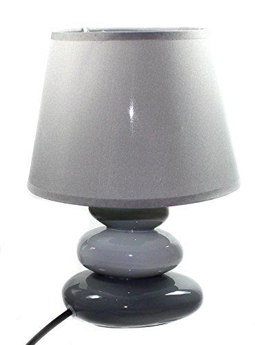 budawi® - Lampe hellgrau/dunkelgrau mit grauem Schirm, Höhe ca. 25 cm, Tischlampe, Keramik-Lampe