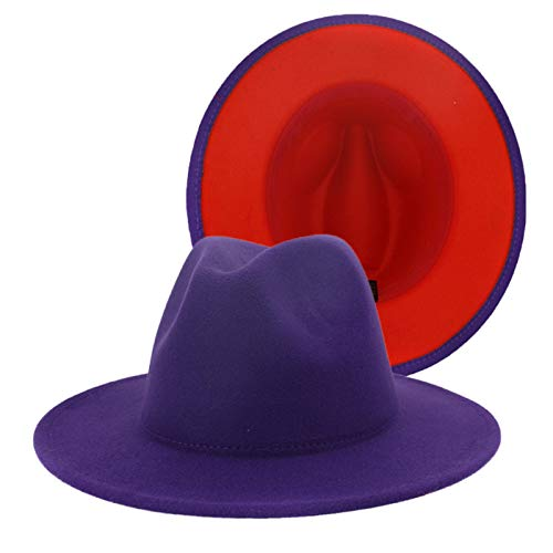 Fell Panama Hat Casual Sun Jazz Hats Sombrero de lana a juego de colores de doble cara for hombres y mujeres sombreros de jazz Para hombres mujeres ( Color : Purple and red , Size : One size )