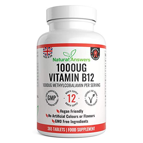 Vitamin B12 1000mcg - High Strength B12 Methylcobalamin - 400 Vegetarian & Vegan Tablets (13 Month Supply) - Contributes to The Reduction of Tiredness & Fatigue -