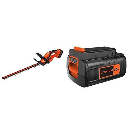 BLACK+DECKER 40V MAX Cordless Hedge Trimmer with Extra Battery, 2.0-Ah (LHT2436 & LBX2040)