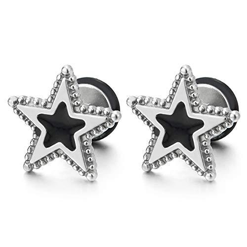 Hombres Mujer Puntos Pentagrama Estrella Pendientes con Esmalte Negro, Acero Inoxidable, Cierre Tornillo, 2 Piezas