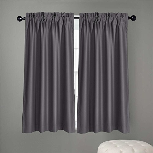 Dreaming Casa Solid Room Darkening Blackout Kitchen Curtains Tiers Swags Valances Draperies for Cafe? Bath, Laundry, Bedroom 2 Panels Grey Rod Pocket, 2(42' W x 36' L)
