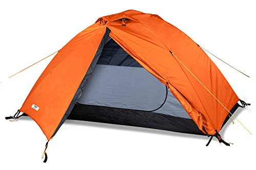 MIER 2 Person Camping Tent Free Standing Outdoor Backpacking Tent with Footprint, Waterproof and Quick Setup, 3 Season, Orange