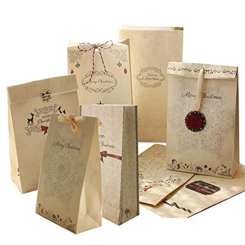 Papieren Tas, 24 STKS Kerstmis Gift Tassen Kraft Papier Tassen Advent Tassen Geen Handvatten met Stickers voor Snoepjes Koekjes Doe-het-zelf Adventskalender 12 * 6 * 22 cm
