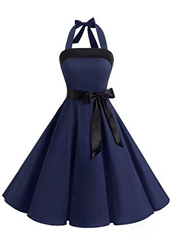 Timormode 10212 Vintage Kleid Knielang Retro Cocktailkleid Neckholder Swing Faltenrock L Marineblau