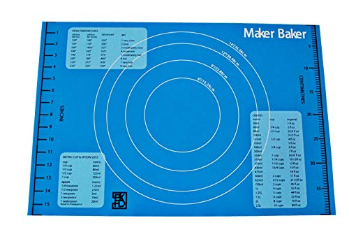Maker Baker Blue Silicone pastry amp baking mat | nonstick nonslip mat | Extra Large Convenient Measurements Imperial amp Metric units |Excellent for rolling dough | Food safe BPA free nontoxic