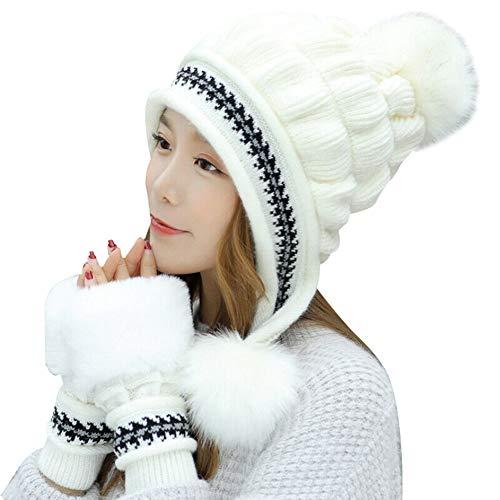 Conjunto de Guantes de Sombrero de Punto de Moda para Mujer Kit de Guantes de Cubierta Completa de Navidad para el Invierno Nuevo