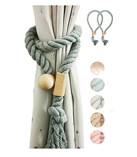 Y AKAGI Magnetische Vorhang Raffhalter Baumwollseile für Vorhängehandgefertigt, 2 Stück,im europäischen Landhaus-Stil, Quasten (Meeresblau)