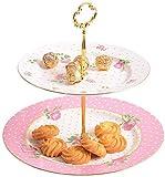 Bandeja de porcelana para servir, mesa de postres de doble capa Soporte para refrigerios Bandeja de frutas secas Sala de estar del hogar Tazón de frutas Diámetro 27 CM Soportes para pasteles (Color: