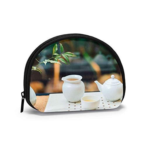 Summer White Porzellan Teekanne Tasse Geldbörse Kleine Reißverschluss Brieftasche Wechselbeutel Mini Kosmetik Make-up Taschen Organizer Mehrzweckbeutel
