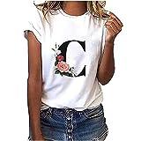 Kobay Camiseta de manga corta para mujer con estampado de algodón blanco de 26 letras de moda...