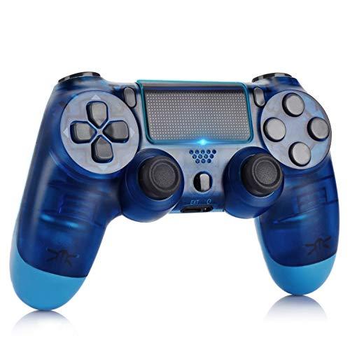 Mando Inalámbrico para PS4,Mando para PS4/Pro/Slim/PC con Touch Pad y Conector de Audio Doble vibración Antideslizante Wireless Bluetooth Gamepad Controlador Inalámbrico (Azul Transparente)