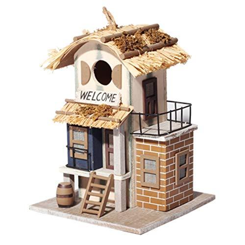 Maison d'oiseau Jardin Cottages Maison D'oiseau Cour Anglaise for Petite Cabane À Oiseaux Birdhouse Rétro Clocher Creative Décoration Extérieure Suspendue En Bois En Bois Birdhouse Avec Bienvenue Cart