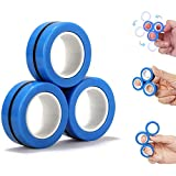 FATIZONE Fingears Magnetic Rings Fidget Spinner Toy | Stress, Anxiety Relief Magnetic Spinner Ring - 3PCS Blue