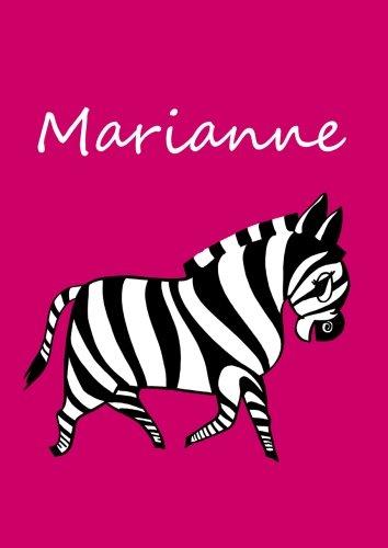 personalisiertes Malbuch / Notizbuch / Tagebuch - Marianne: Zebra - A4 - blanko