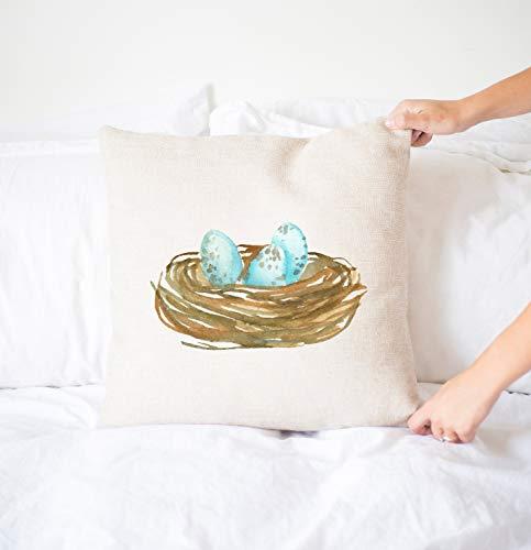 Funda de almohada de nido de pájaros, almohada de primavera, decoración del hogar, decoración de casa de campo, nido de acuarela, nido de pájaro, huevos azules, almohada decorativa
