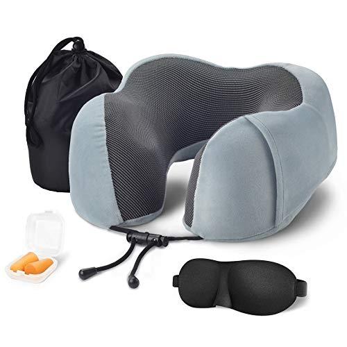 1 st U-Shape Travel Kussen Memory Foam Massage Nek Kussen Vliegtuig Reizen Kit met 3D Oog Maskers, Oordopjes Zak, Grijs