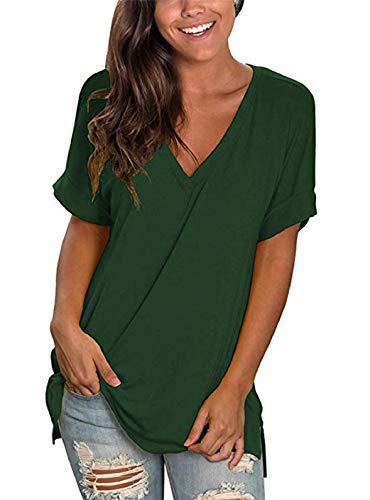 UMIPUBO Camiseta de mujer con cuello en V para verano, tallas S-XXL, de color liso, informal, de algodón y blusa a la moda, con puños, de manga corta, para dormir, deporte, compras Verde M