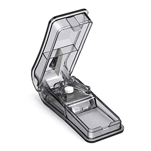 Opret Tablettenteiler für Große und Kleine Tabletten, Tablettenschneider mit Aufbewahrungsfach Schwarz