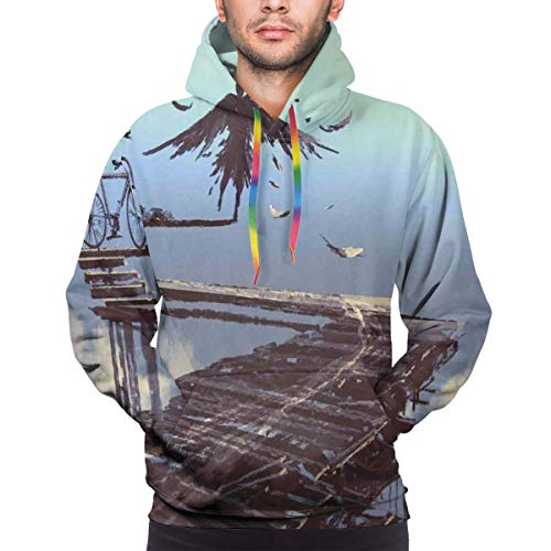 AIQIIA Men's Hoodies 3D Print Pullover Sweatershirt,Surreal Art Print Bird Man with Eagle Wings Fly Over The Clouds Bike Illustration,M