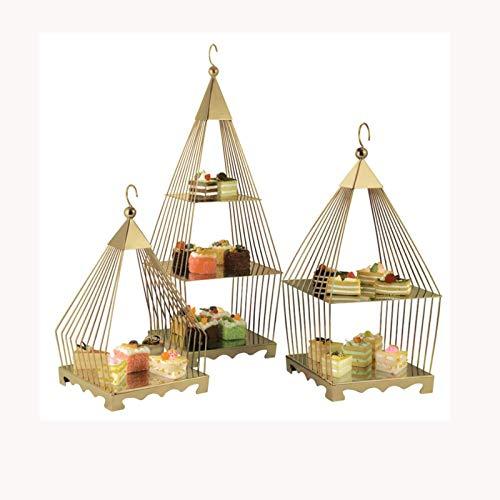 LJJOO Soporte de postre de múltiples capas, soporte de exhibición de pastel, soporte de bocadillo de té de la tarde de tres capas, adornos decorativos, adecuado para bodas, fiestas, cumpleaños Bandeja