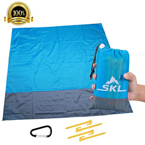 SKL Stranddecke Picknickdecke Tasche Picknick-Matte für Outdoor-Reisen Camping Wandern (Blau, 150x140cm)