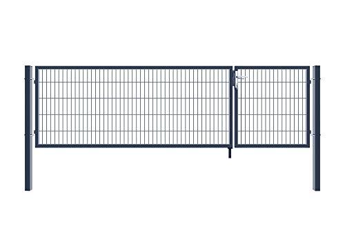 Home Deluxe - Doppelflügel Gartentor - inkl. Griff, Schloss, Schlüsseln und Bodenverriegelung - ca. 80 x 350 cm - Farbe: Anthrazit   Gartenpforte Einfahrtstor Hoftür