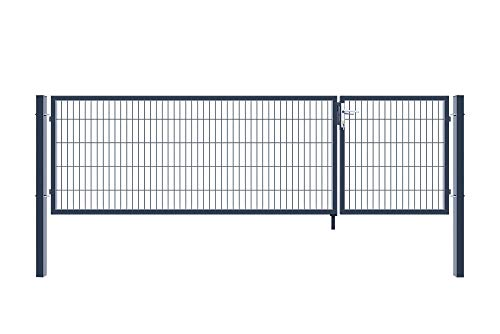 Home Deluxe - Doppelflügel Gartentor - inkl. hochwertigem Griff, Schloss, Schlüsseln und Bodenverriegelung - verschiedene Farben und Höhen (160 x 350 cm, anthrazit)