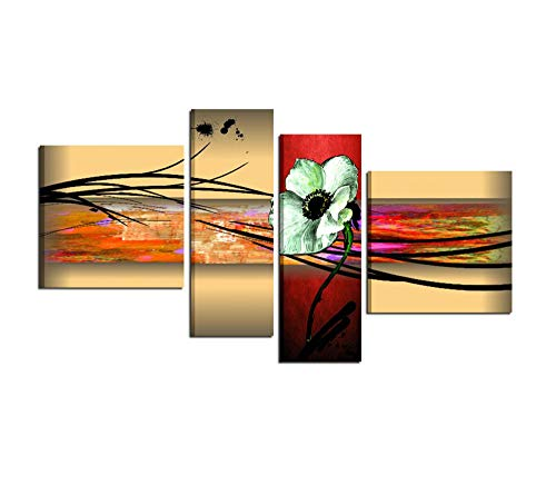 I Colori del Caribe Quadri Moderni con Fiori per Salone Salotto Soggiorno Olio su Tela Dipinti A Mano Roslyn