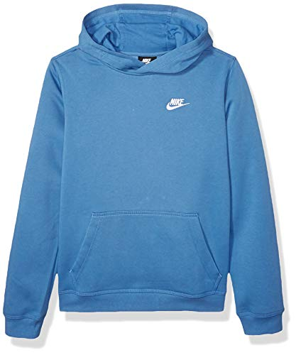 Nike Boy's NSW Pull Over Hoodie Club, Mountain Blue/White, Large