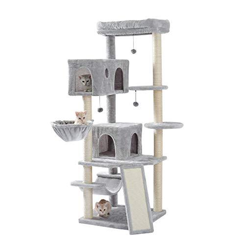 Umi Amazon Brand Holz Kratzbaum 166cm Katzenbaum mehrstöckig großen Spielturm Sisal Kratzbaum Kätzchen Möbel Aktivitätszentrum mit 2 Wohnung Playhouse Breiter Raum für Katzen baumeln Spielzeug grau