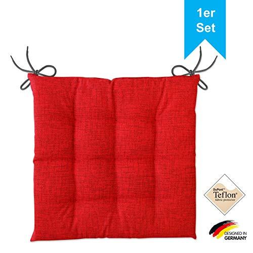 LILENO HOME 1er Set Stuhlkissen Rot (40x40x4,5 cm) - Sitzkissen für Gartenstuhl, Küche oder Esszimmerstuhl - Bequeme UV-beständige Indoor u. Outdoor Stuhlauflage als Stuhl Kissen