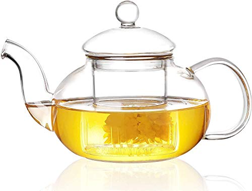 27oz Glass Teapot Stovetop Safe, Glass Teapot with Removable Infuser, Heat Resistant Borosilicate Glass Teapot for Flower Tea, Loose Leaf (800ml)