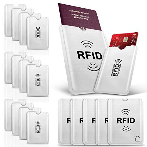 17 Stück PAMIYO TÜV Geprüfte RFID Schutzhülle Kreditkarten,100{c945d24059299b4a83f4dab3e5c446e68d243326b2120c19235dba6065adda46} Schutz Gegen Unerlaubtes Auslesen - Kreditkarten RFID Blocker Reisepasshülle Reisezubehör für Personalausweis, EC Bankkarten,Visa