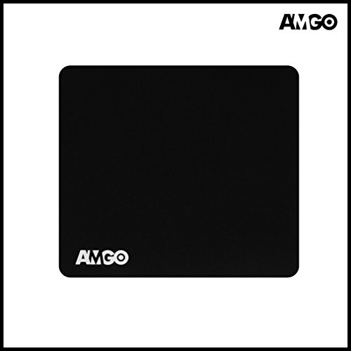 Amgo Large Gaming Mouse Mat / Pad Desk - Extra Thick 6mm - 13' x 11.2' x 0.24' - Mouse Precision Enhanced, Non-Slip Rubber Base - Black, XXL