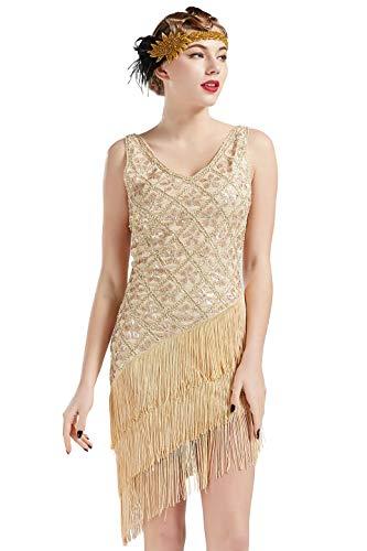 Coucoland 1920s Kleid Damen Flapper Charleston Kleid V Ausschnitt Great Gatsby Motto Party Damen Fasching Kostüm Kleid (Beige, L)