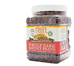 100% Natural & Healthy Indian Grown Whole Dark Red Kidney Beans - 1.5 Pounds (24 Ounces) Protein, Iron & Fiber Rich - 11 grams Protein & 11 grams Dietary Fiber Per Serving- Washed Clean Soft Texture, Fast Cooking & Easy to Digest - Use 3 Cups of wate...