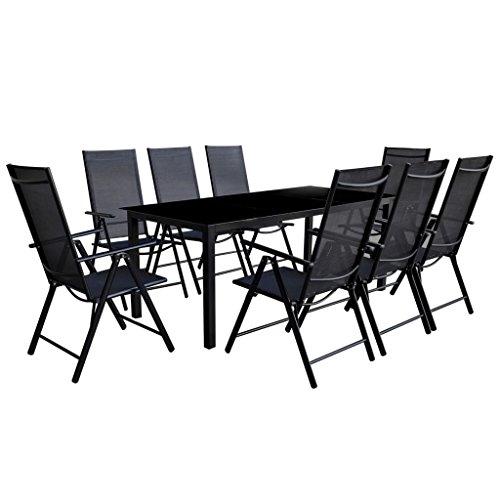 Lingjiushopping repas en extérieur Lot de 9 pièces Aluminium Noir Couleur : Noir Matériau de table : Plateau en verre + cadre en aluminium revêtu par pulvérisation