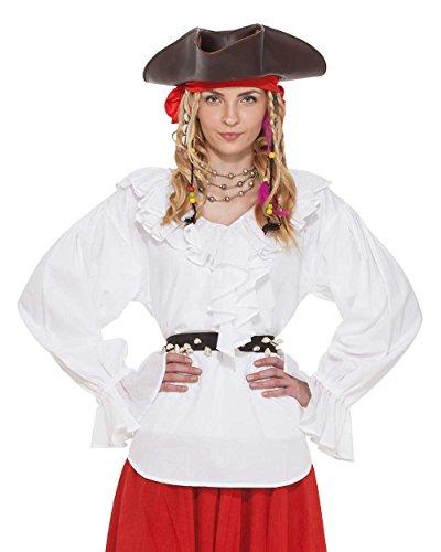 Pirat Renaissance Mittelalter Wench Damen Kostüm Carrie Oates Bluse [weiß] -  Weiß -  Medium