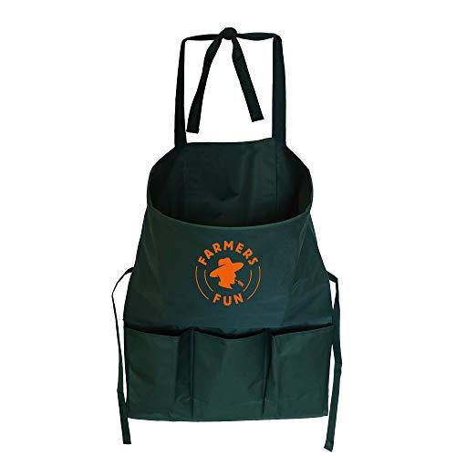 FARMERS FUN Gartenschürze mit Werkzeugtaschen, Sammelschürze für Ernte, Arbeitsschürze für Garten, Grün