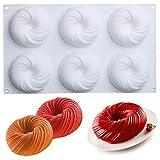 ALUYF Silikon Backform Kuchenform Besondere Backform für Küche Seifenform Kuchenform 3D Backformen Spiralkuchen Backform zum Backen Dessert Mousse Backformen Backform Werkzeuge Spiralkuchen (6 Zellen