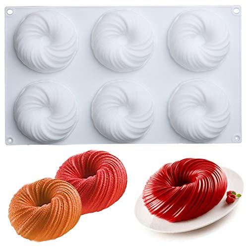 Moule de cuisson en silicone d'origine moule à gâteau cannelé antiadhésif Moule à gâteau en silicone en forme de tourbillon pour la cuisson du dessert ustensiles de cuisson gâteau en spirale 6cellules