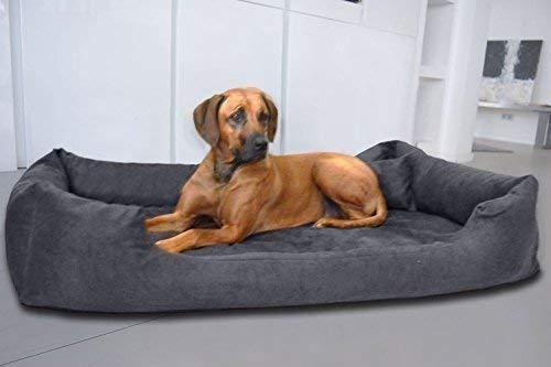 tierlando® Orthopädisches Hundebett Pluto Ortho VISCO Viscoschaum aus weichem Velours Größe: PLV4 110x90 cm | B Farbe: 02 Graphit
