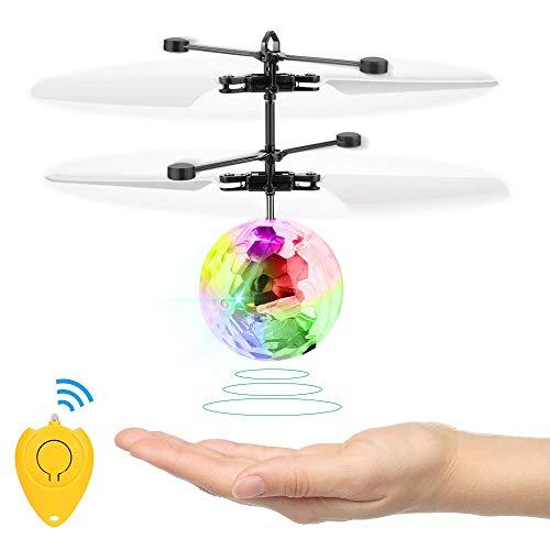 Komake Fliegender Ball, Helikopter Flugzeug Hubchrauber Spielzeug,Infrarot-Induktions-Hubschrauber, Spielzeug, Flugzeuge Drohne mit bunt leuchtendem LED-Licht, Indoor und Outdoor-Spiele Geschenke