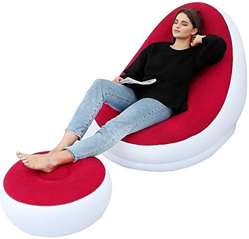 ERLIANG Aufblasbare Freizeit Sofa, Stuhl und Hocker im Freien Klappliege Sofa Beflockung fauler Couch, Haus & Garten Aufblasbare Deluxe Lounge Lounger, beweglicher Stuhl Sitze for Indoor & Outdoor