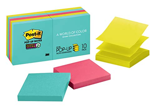 Post-it Super Sticky Pop-up Notes, 7,6 x 7,6 cm, 10 blocos, 2 x The Sticking Power, coleção Miami, cores neon (laranja, rosa, azul, verde), reciclável (R330-10SSMIA)