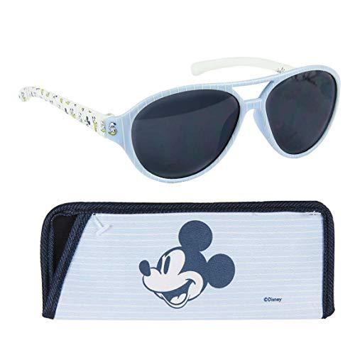 Gafas de sol flexibles con funda para bebé niño Disney Mickey azul y blanco TU (12-36 meses)